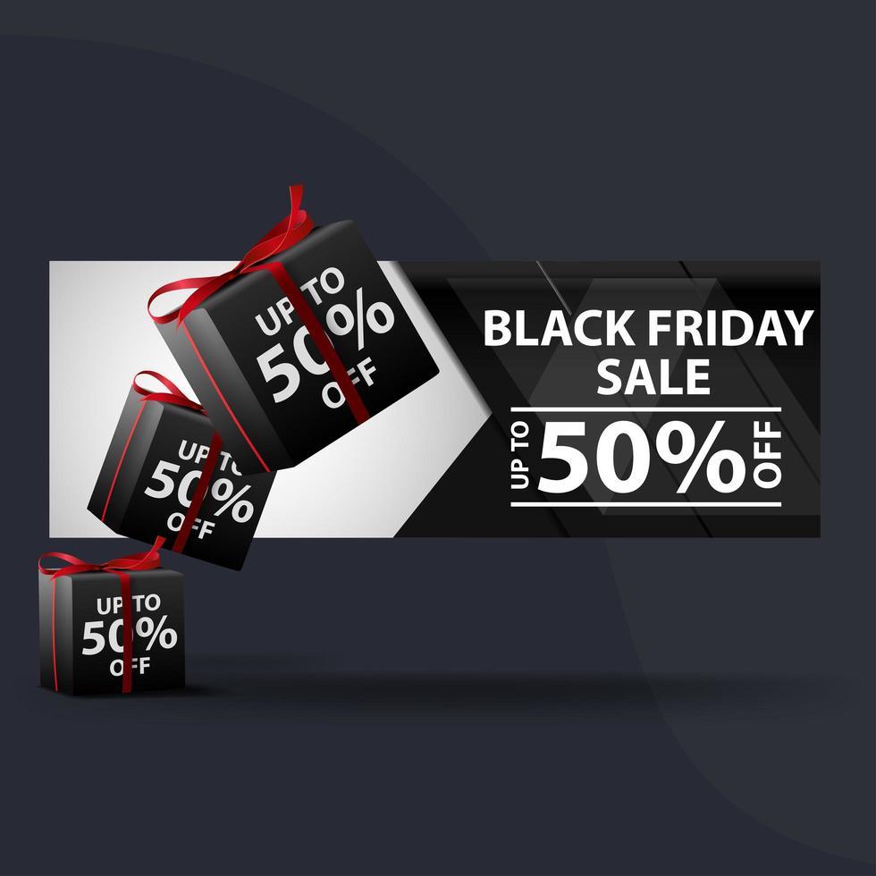 Black friday half price sale web banner template vector