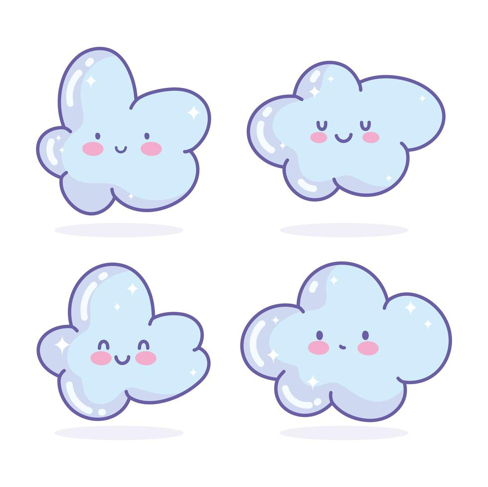 Set of kawaii clouds icons vector