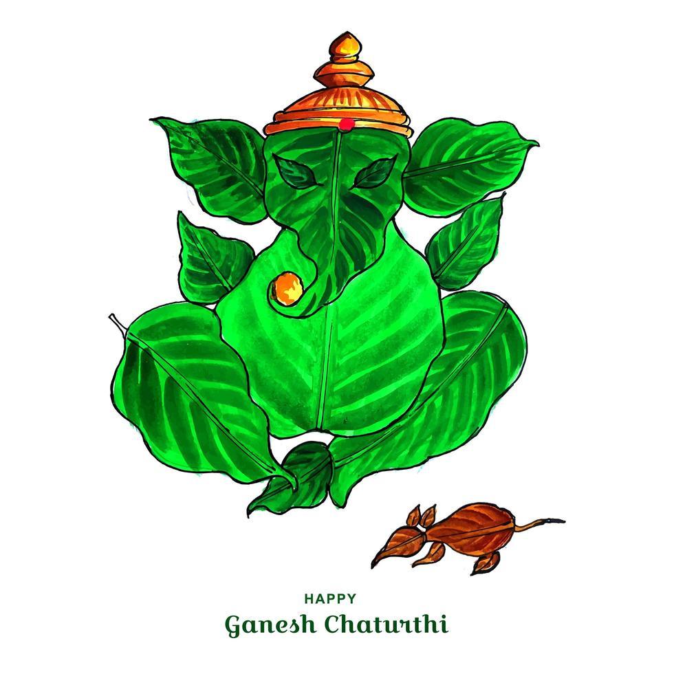 lord ganesha e imagem da folha do mouse para o fundo do cartão ganesh chaturthi vetor