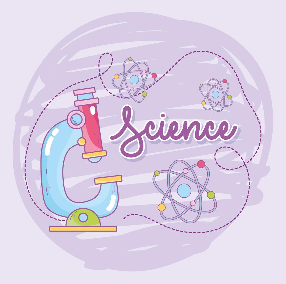 Science and microbiology with microscope and atoms molecules vector