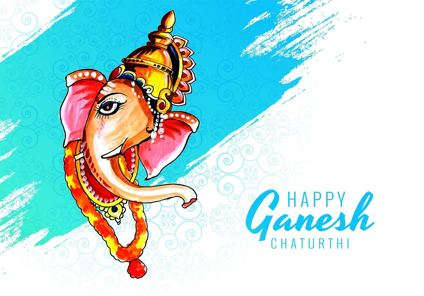Lord Ganesha Face Profile for Ganesh Chaturthi Festival Background vector