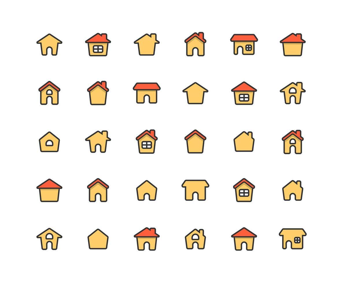 casa preenchida contorno conjunto de ícones vetor