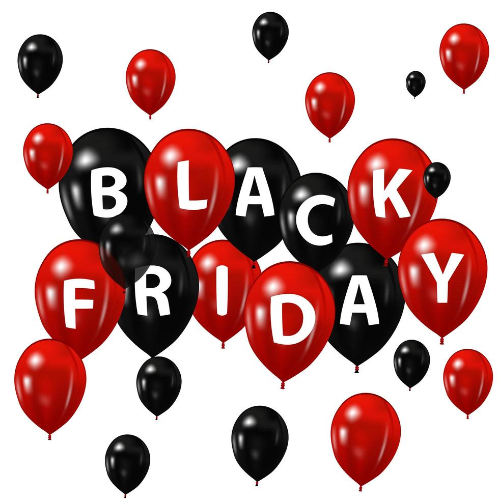 Black and red balloons for black friday vector