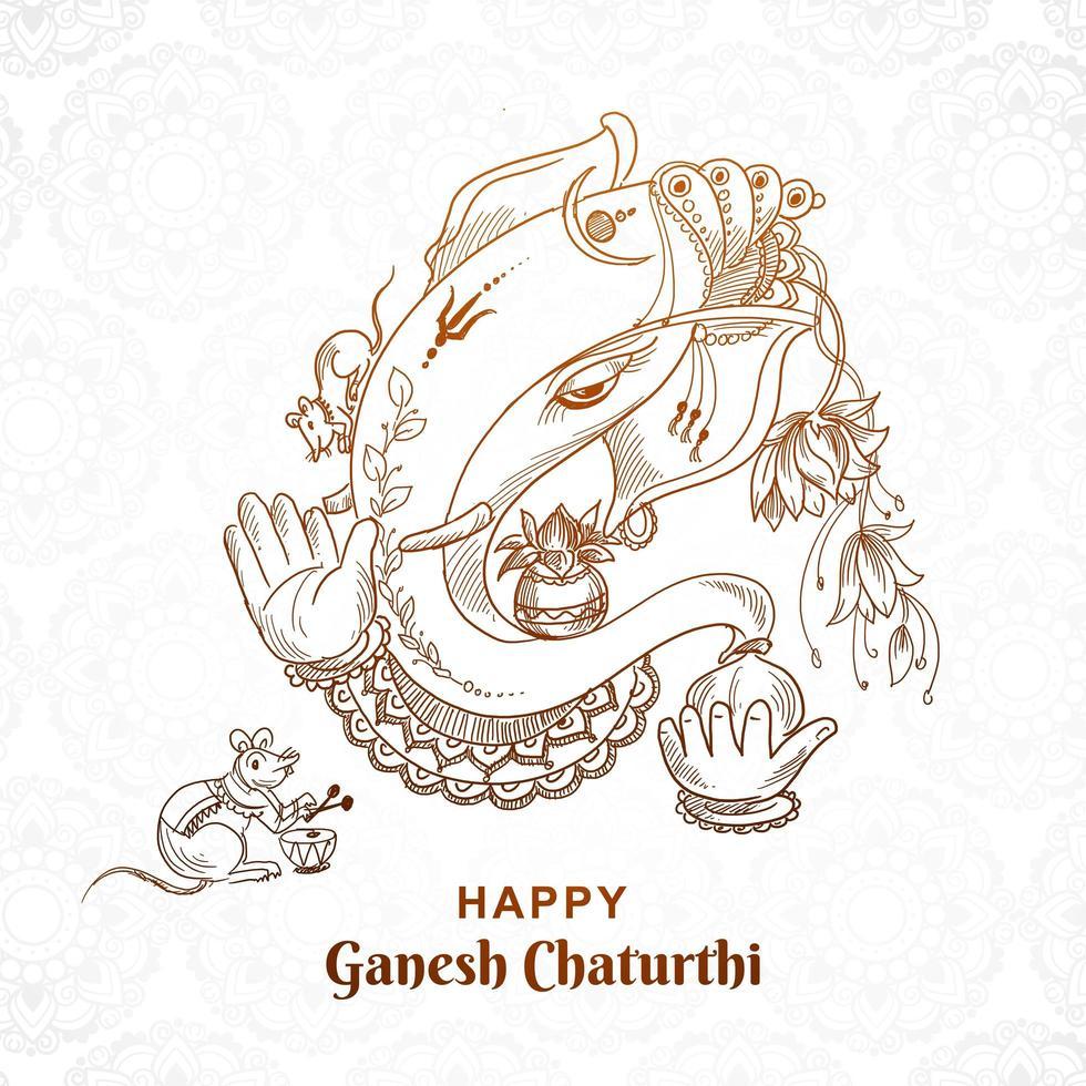 No Color Sketch Art Ganesh Chaturthi Card Design vector