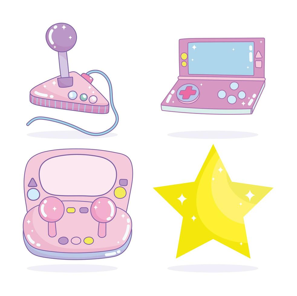 Set of video game electronic consoles and a star vector