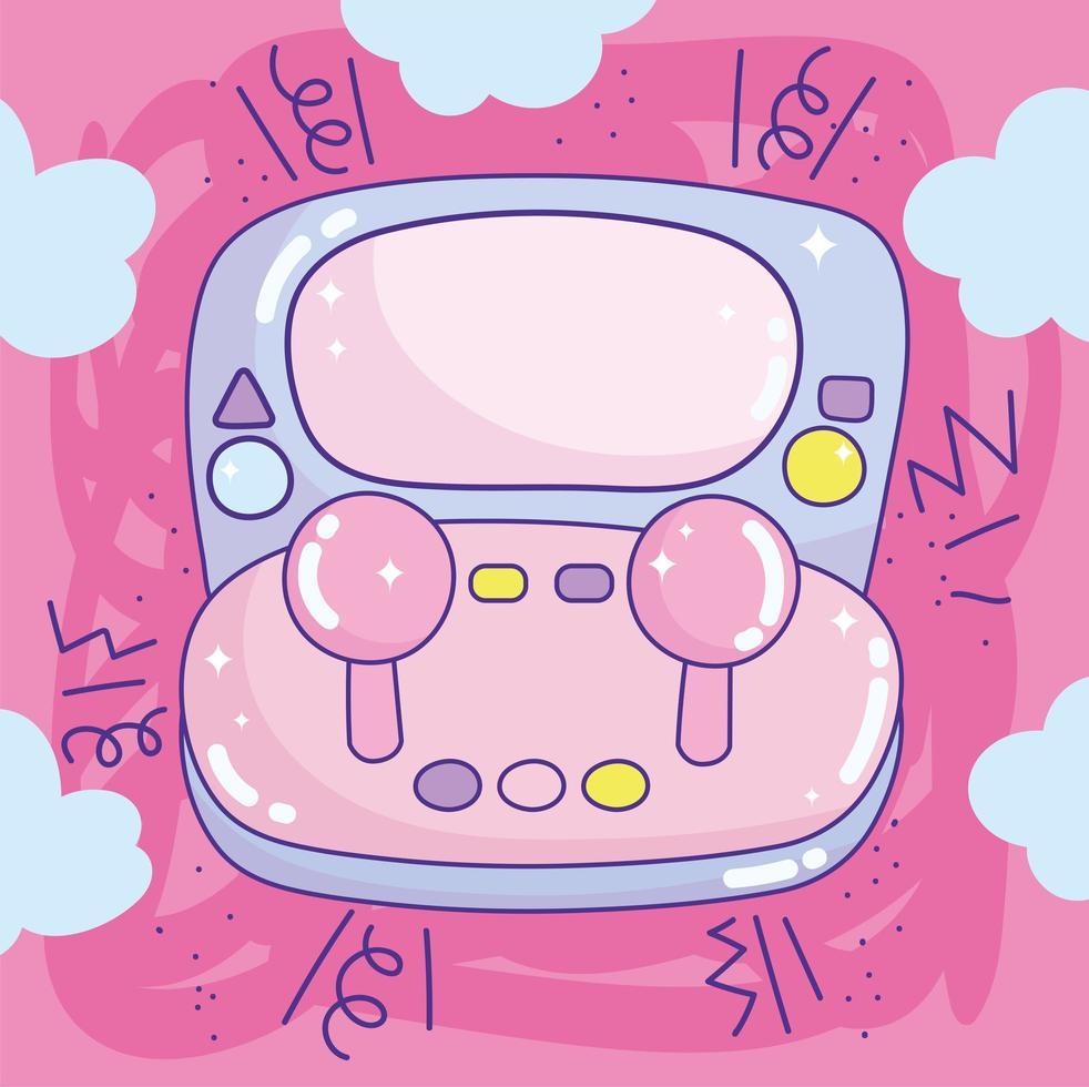 videogame portátil kawaii com joystick vetor