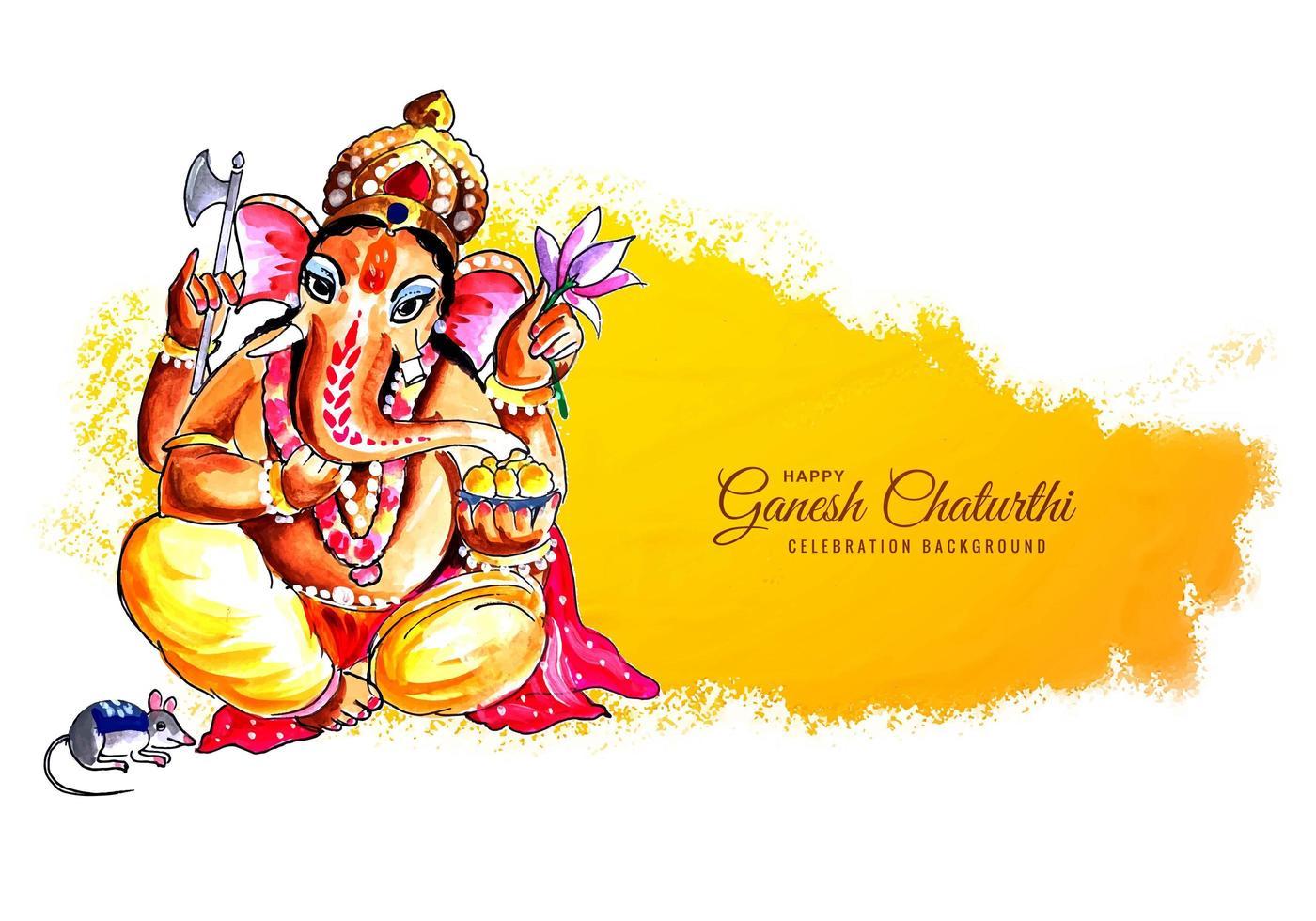 feliz ganesh chaturthi para el fondo del festival indio vector