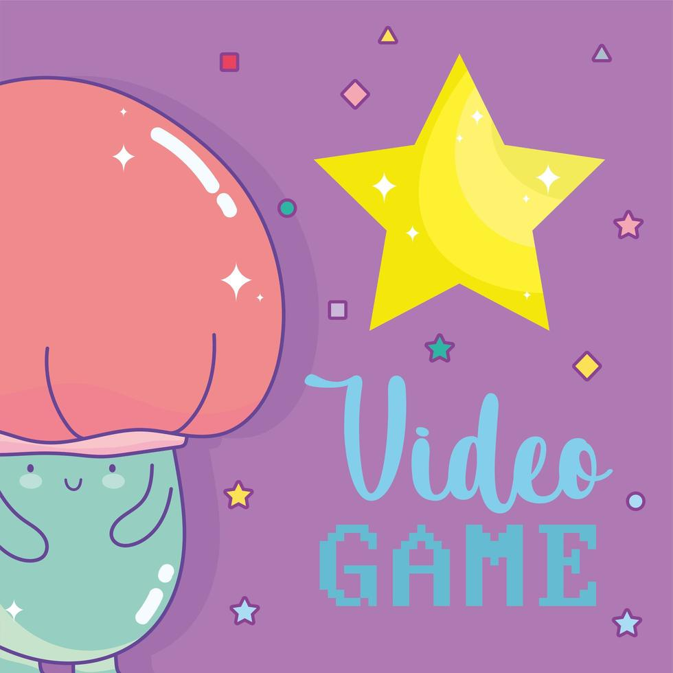 Mushroom character with video game lettering and a big star vector