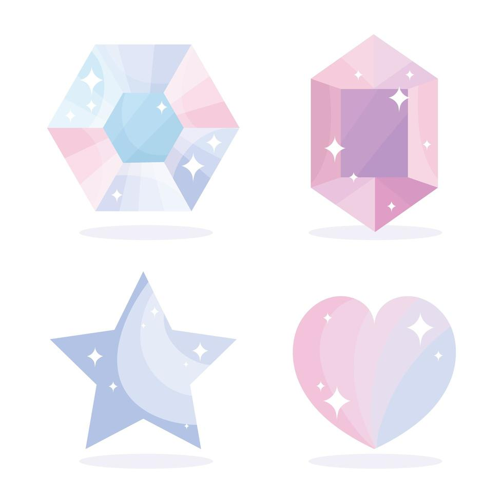 conjunto de gemas, um diamante, uma estrela e ícones de coração vetor