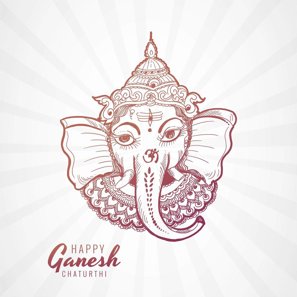 Ganesh Chaturthi Face in No-Color Sketch Art vector