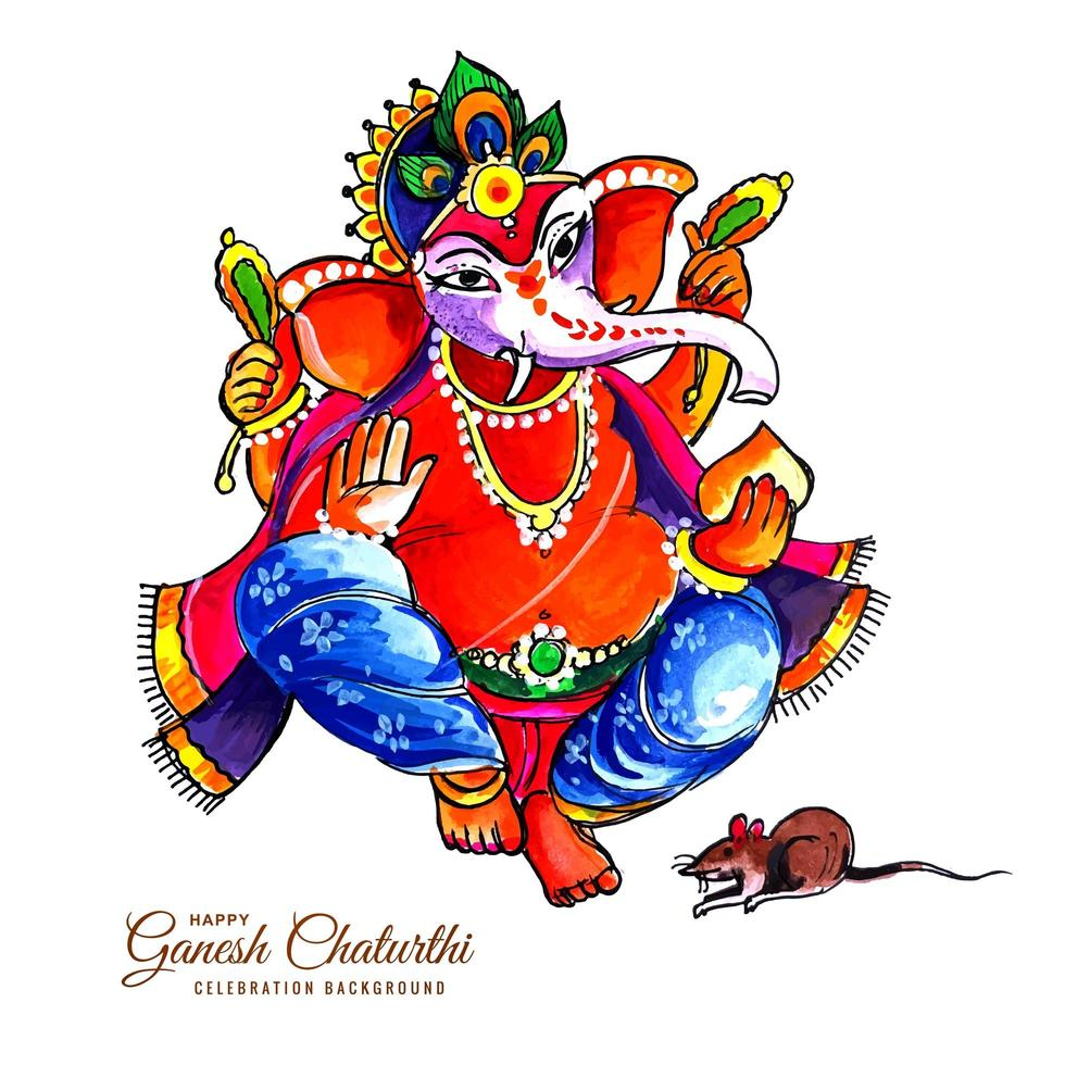 Festival of Ganesh Chaturthi Card Design with Mouse and Elephant God vector