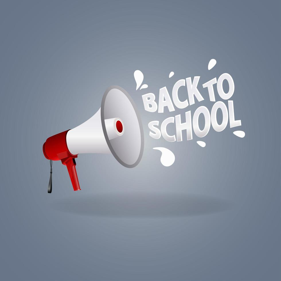 Back to school lettering with a megaphone vector