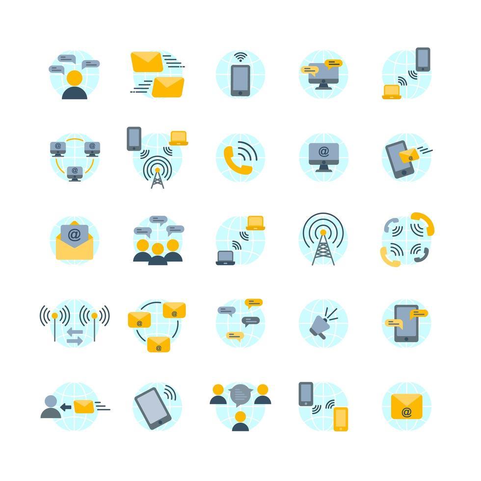 conjunto de ícones planos de comunicação vetor
