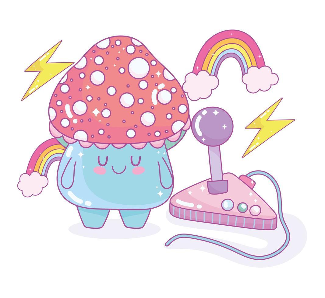 pequeño hongo con joystick de videojuegos y arco iris cerca vector