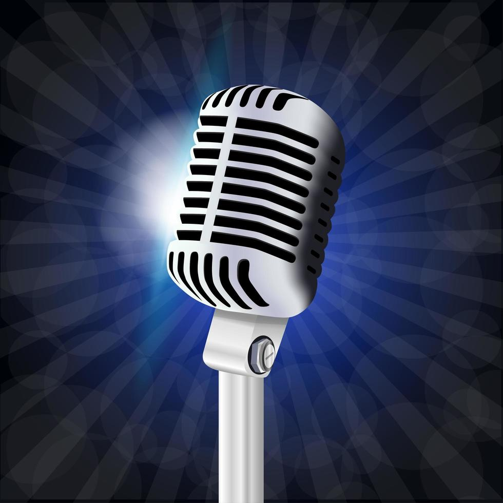 micrófono grande vintage vector