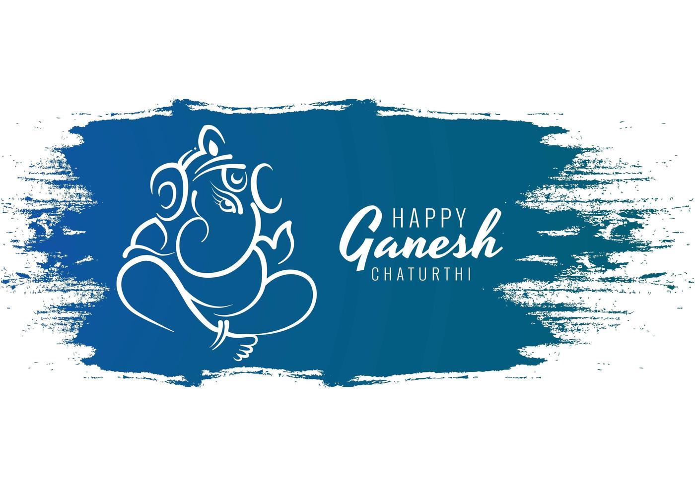 feliz festival ganesh chaturthi utsav en trazos de pintura azul vector