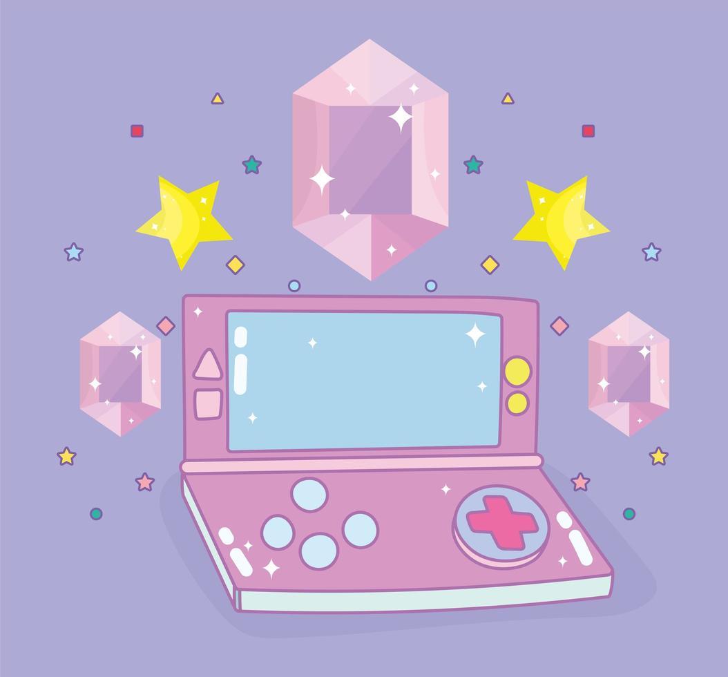 videojuego portátil con gemas y estrellas vector