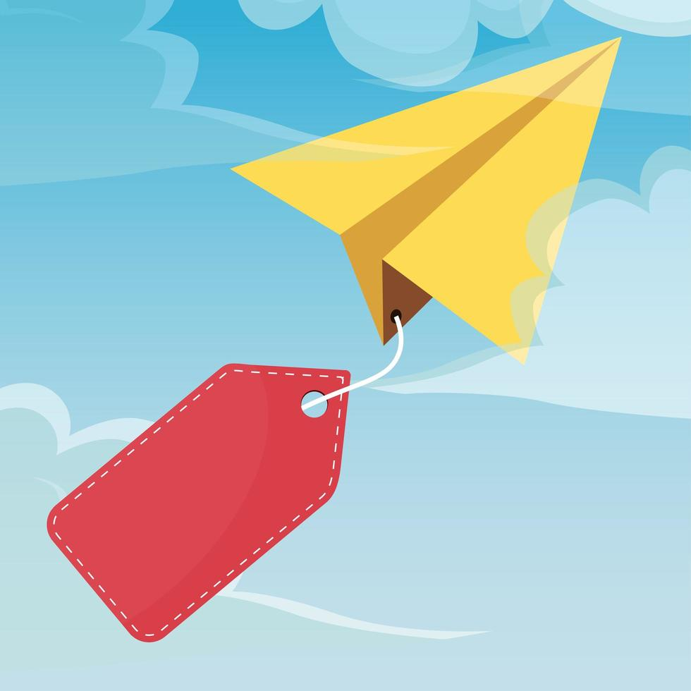 Paper plane in the sky with a blank price tag vector