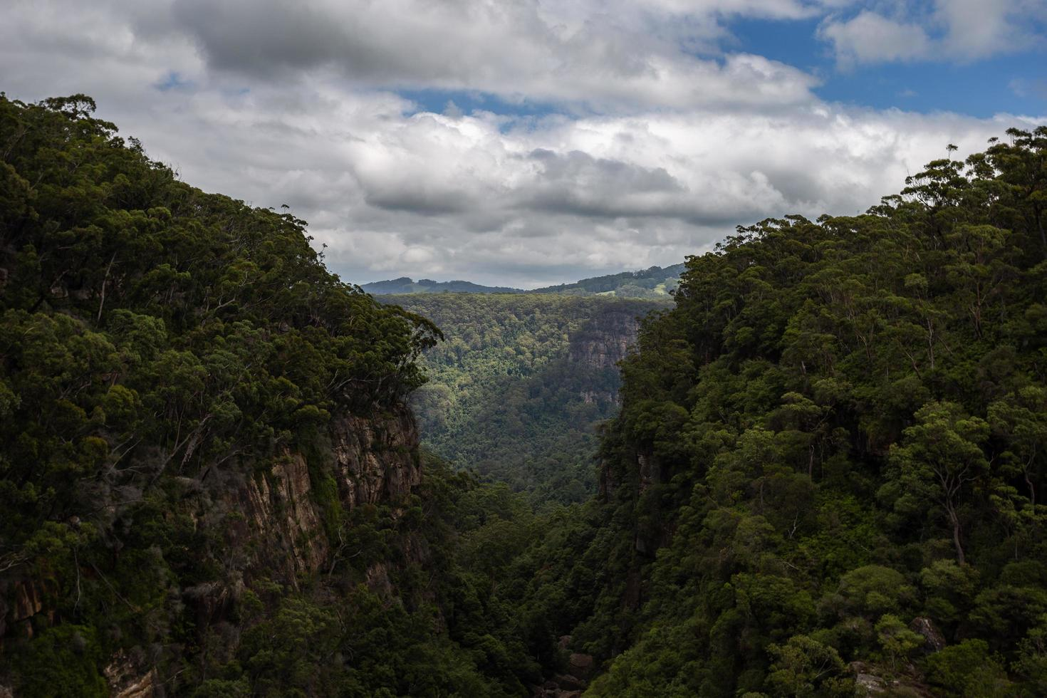 Valley between two green mountains photo