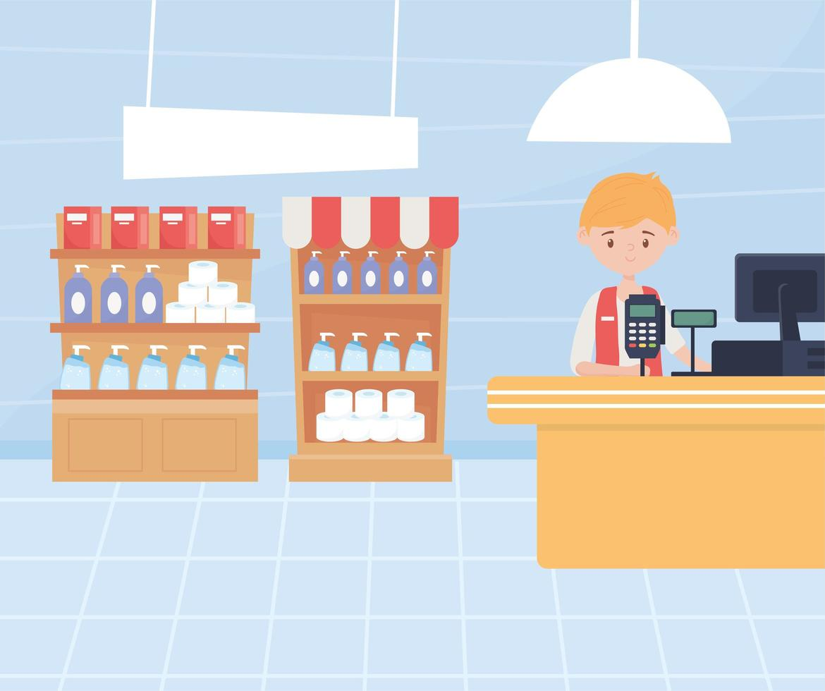 Pharmacy cashier with personal hygiene products on shelves vector