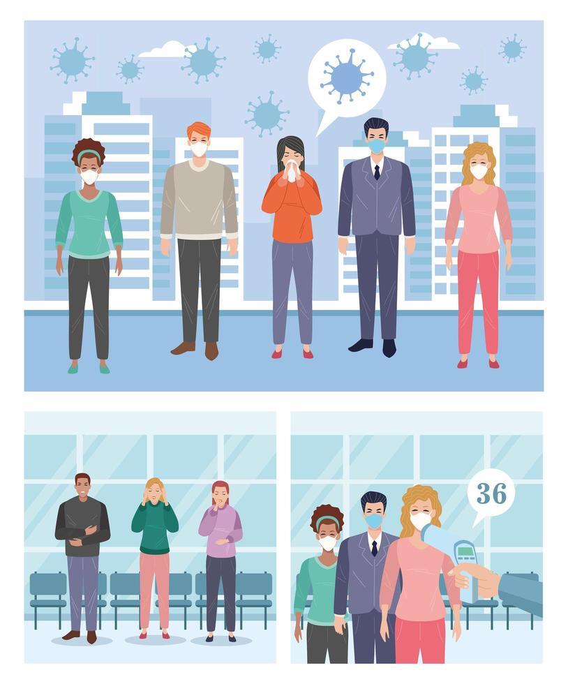 escenas de personas enfermas con síntomas de covid 19 y otras que usan máscaras faciales vector