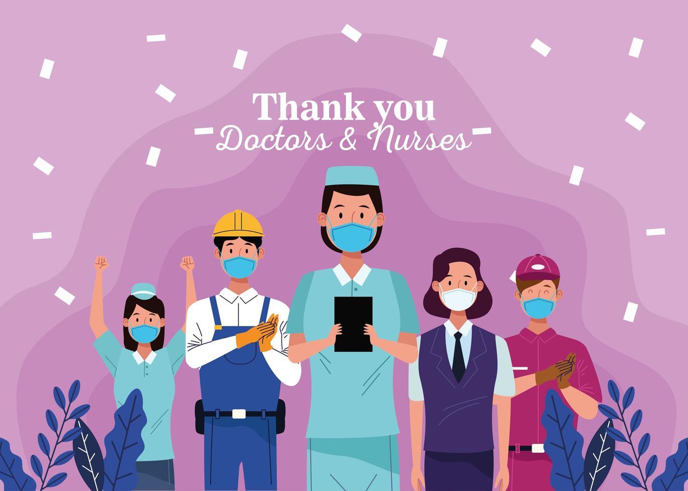 grupo de trabajadores con máscaras con mensaje de agradecimiento a los médicos y enfermeras vector