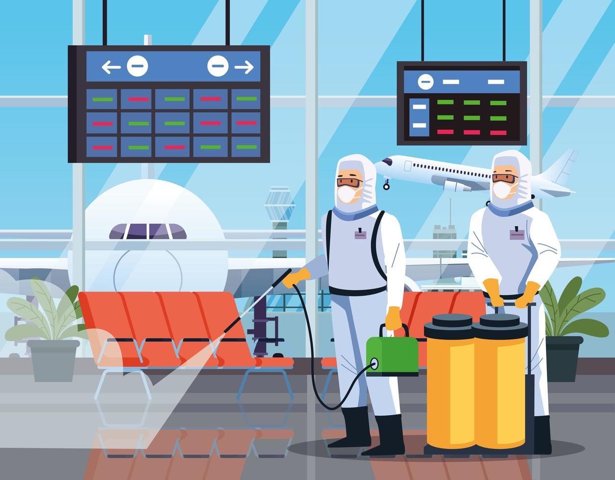 algunos trabajadores de bioseguridad desinfectan el aeropuerto por coronavirus vector