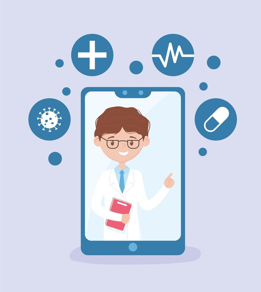Mobile app online medical and heath care assistance banner vector