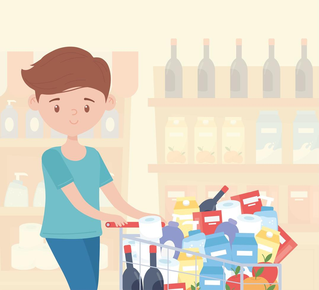 Man excessively shopping groceries in a store aisle vector