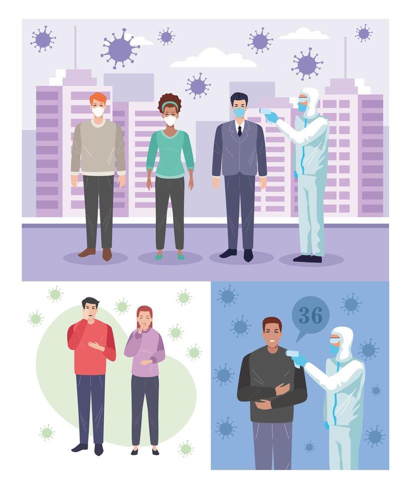 People sick with coronavirus symptoms vector