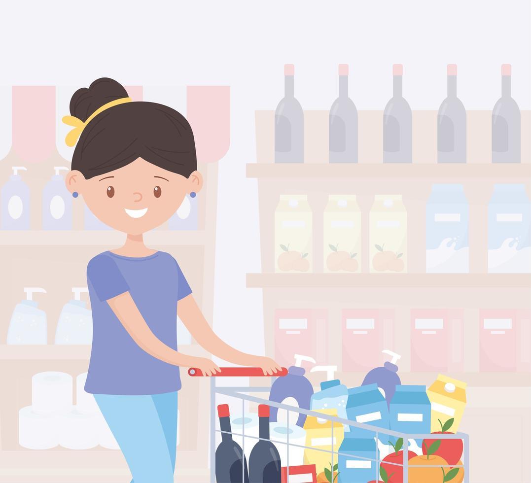 Mujer de compras excesivamente en el pasillo de una tienda vector