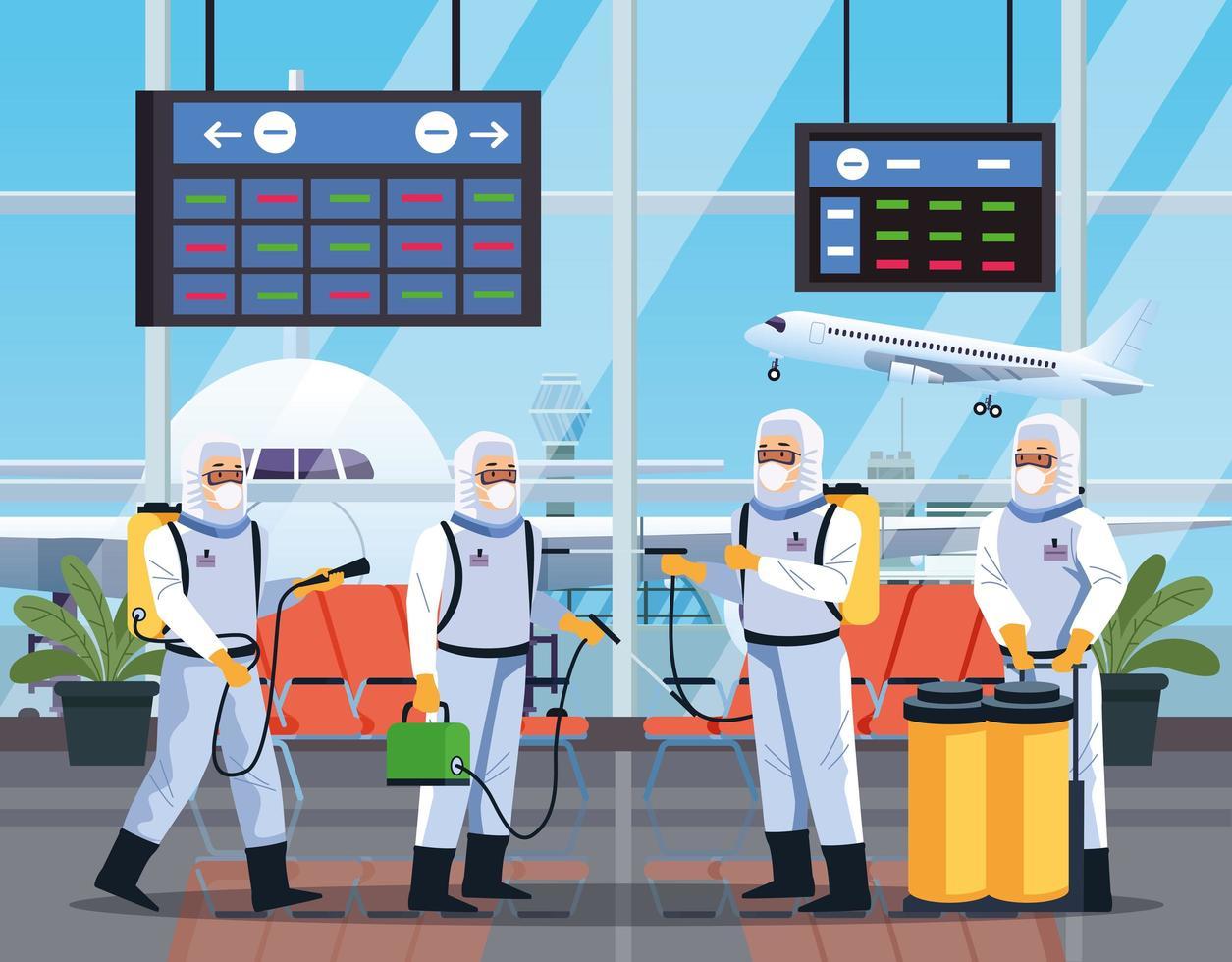 grupo de trabalhadores de biossegurança desinfeta aeroporto vetor