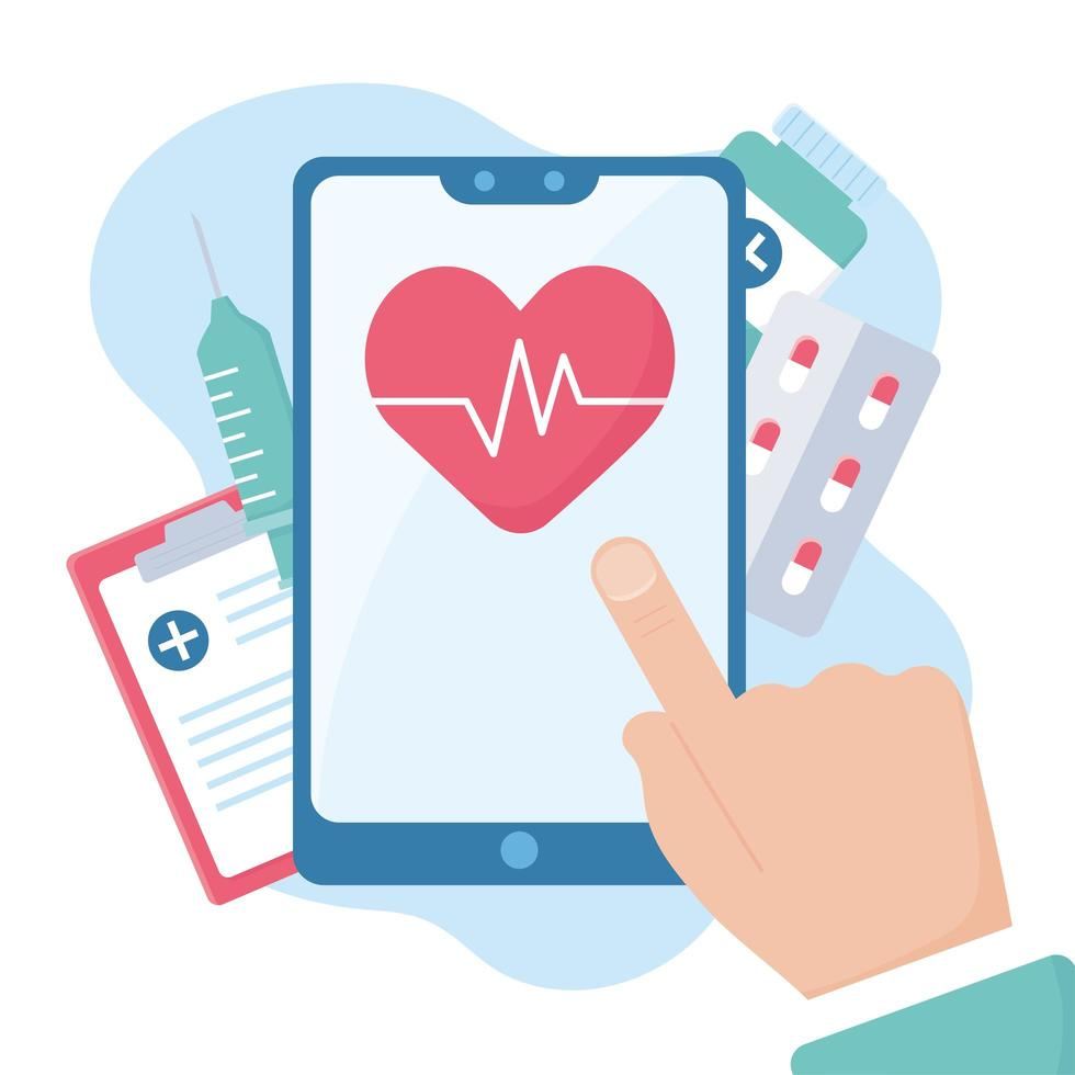 mão tocando a tela de um smartphone com médico e assistência médica online vetor