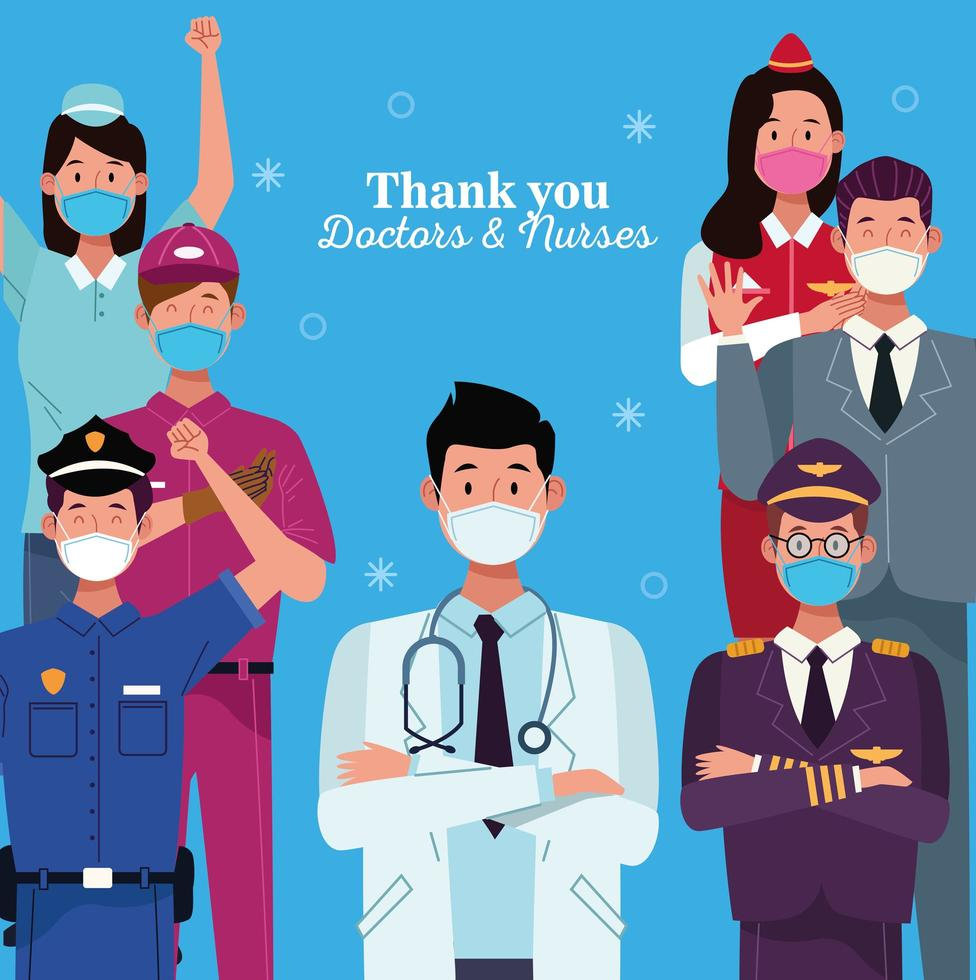 conjunto de trabajadores que usan máscaras faciales con mensaje de agradecimiento vector