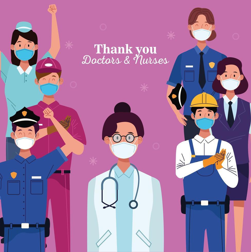 grupo de trabajadores que utilizan máscaras protectoras con mensaje de agradecimiento vector