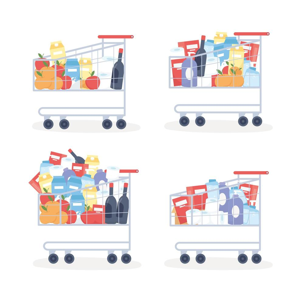 Supermarket shopping carts with cleaning supplies and food set vector