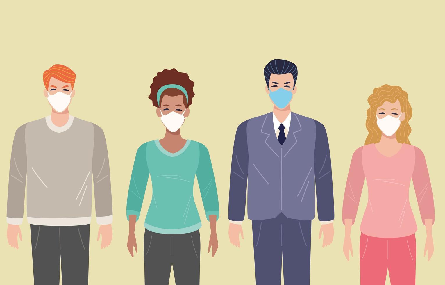 grupo de pessoas usando máscara facial para covid 19 vetor