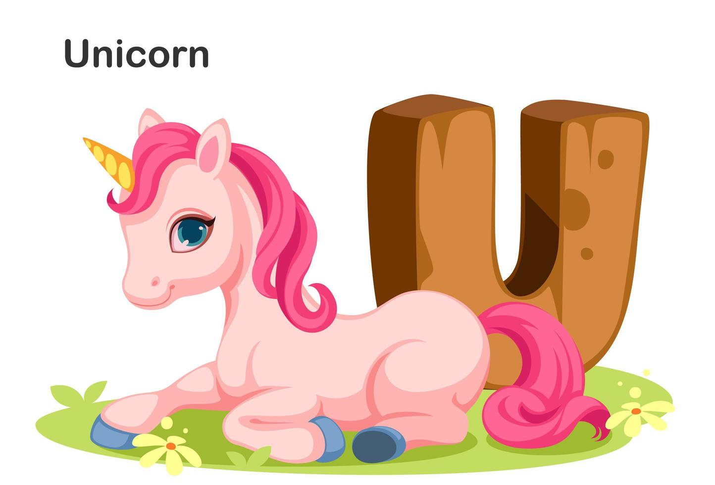 Wooden U for Unicorn  vector