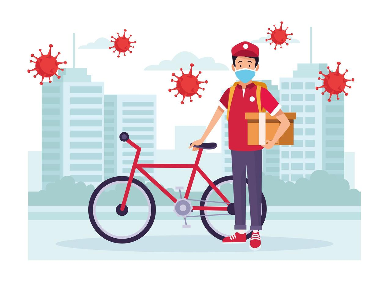 Courier with bicycle delivery service with COVID 19 particles vector