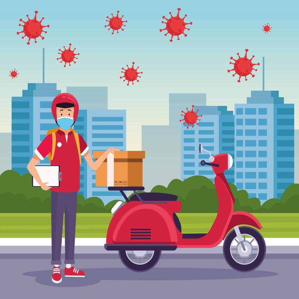 Courier in motorcycle delivery service with COVID 19 vector