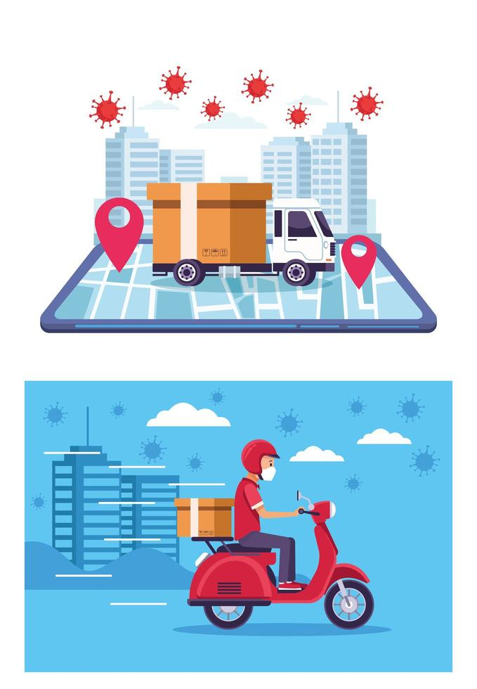 delivery service online with covid 19 particles vector
