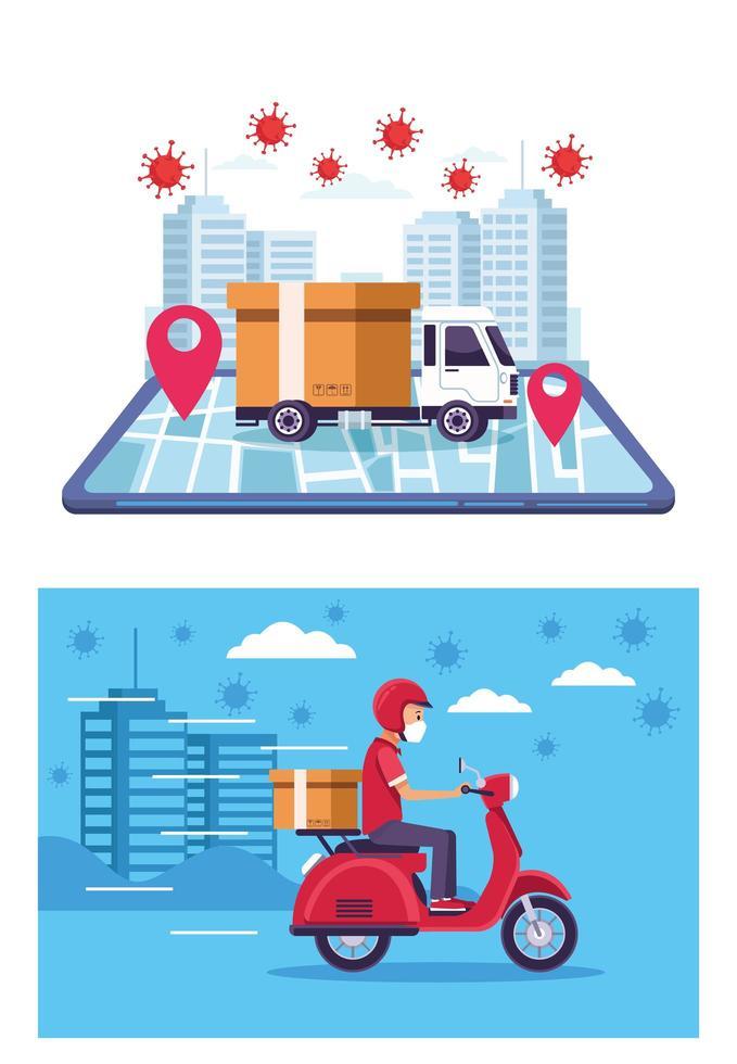 serviço de entrega online com partículas covid 19 vetor