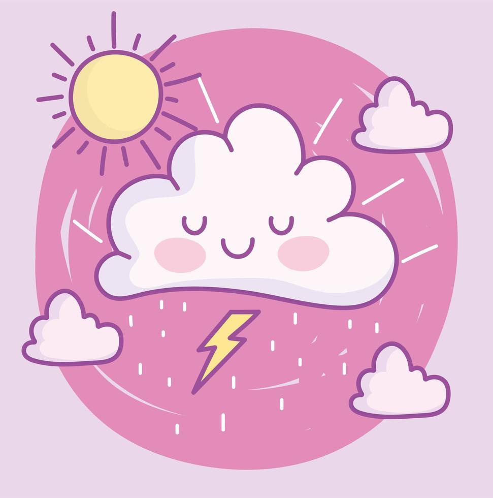 lindas nubes de dibujos animados vector