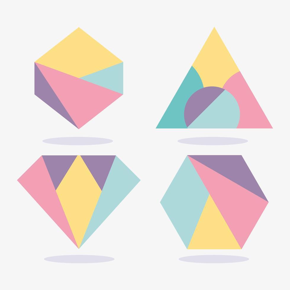 coleção de formas geométricas coloridas vetor