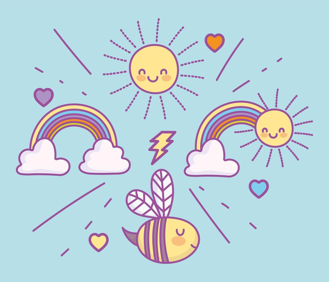 Cute flying bee with rainbows and sun  vector