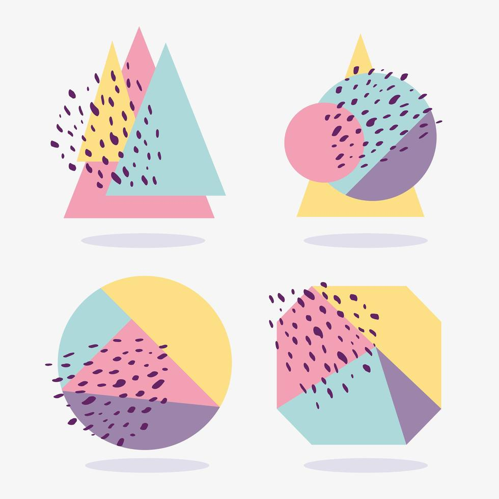 Geometric colorful shapes with texture collection vector