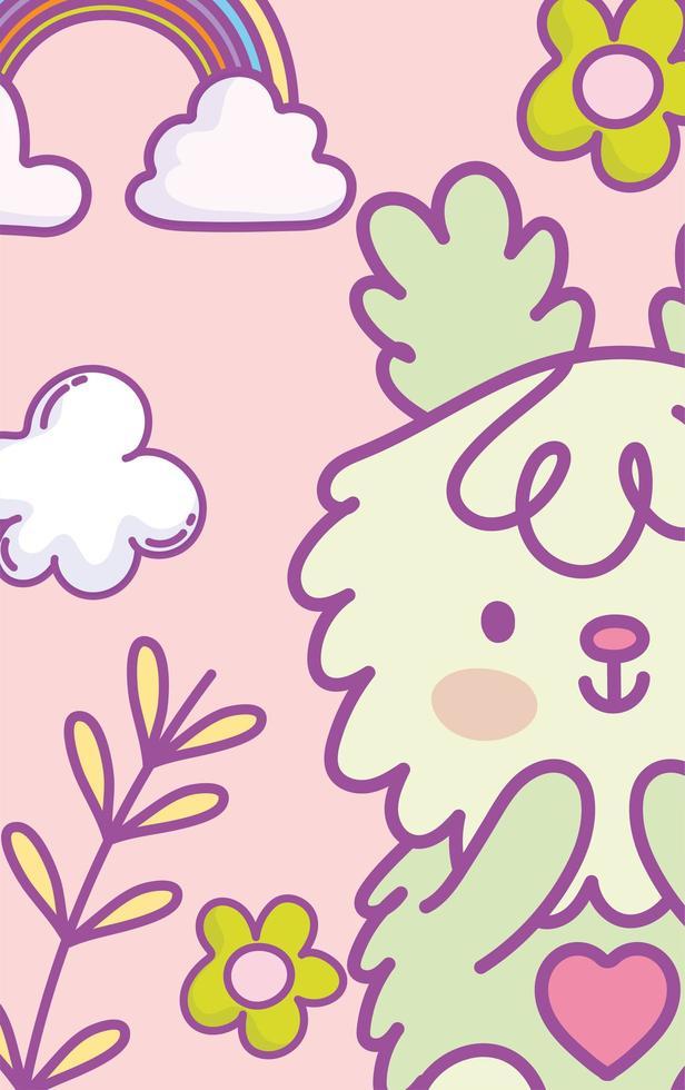 cartão de coelho verde kawaii ou modelo de banner vetor