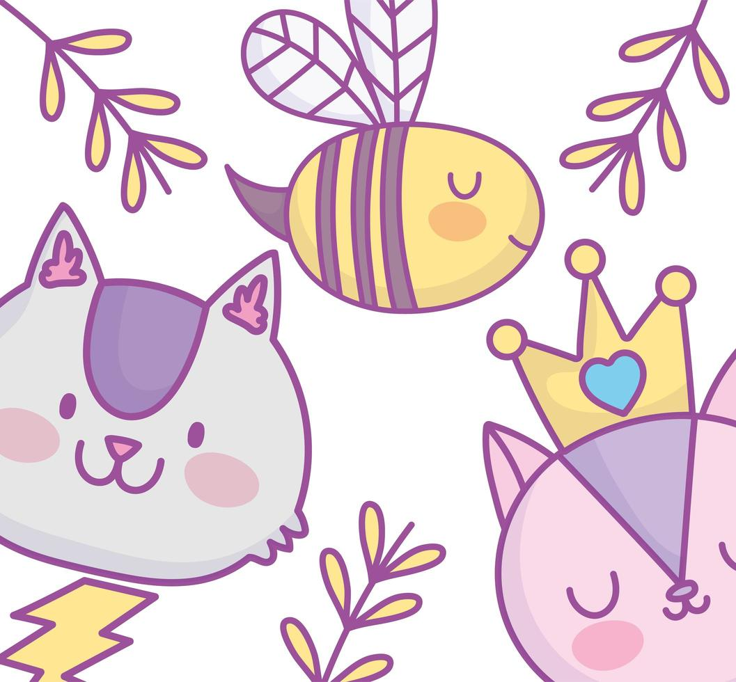 Cute little animals greeting card vector