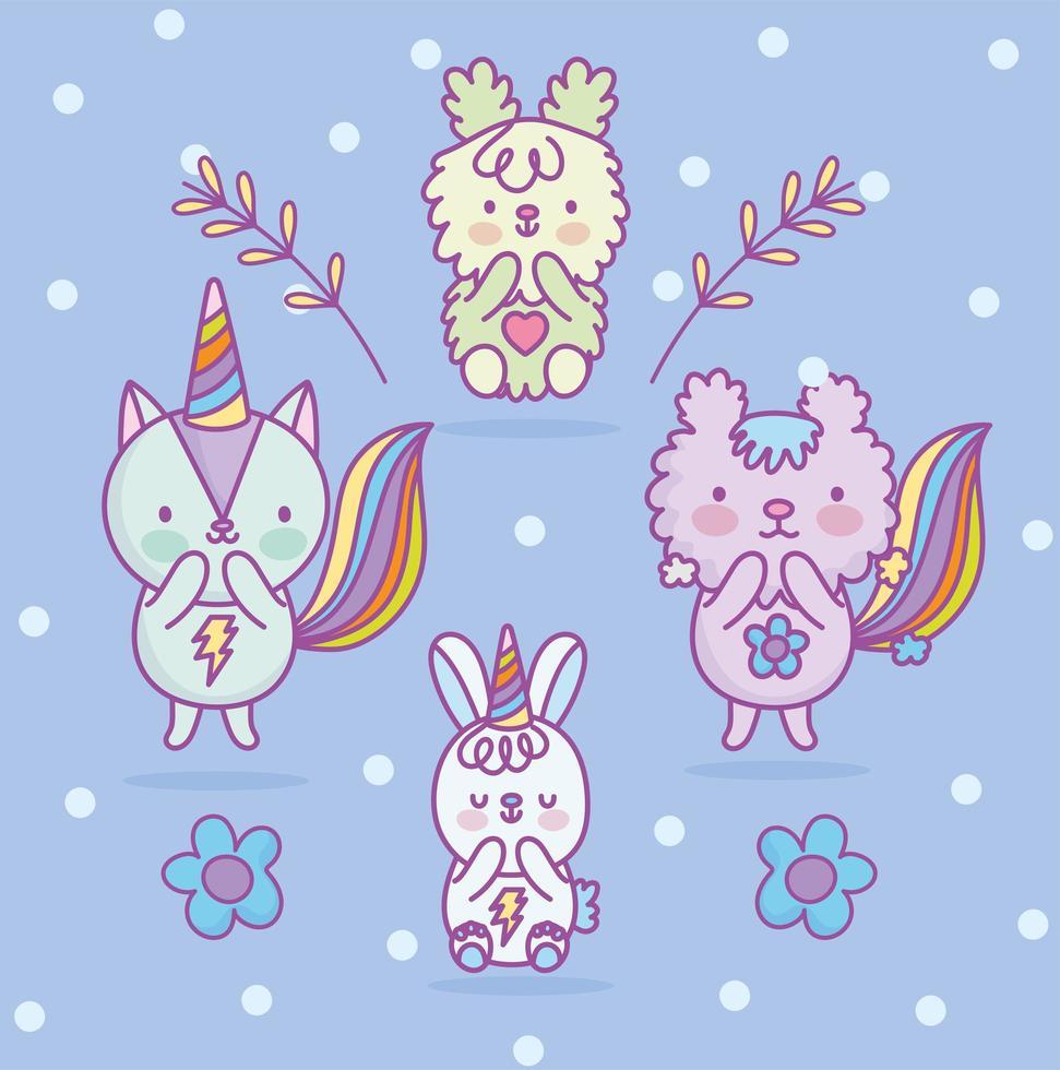 Kawaii cat, bunny, squirrel and dog characters vector