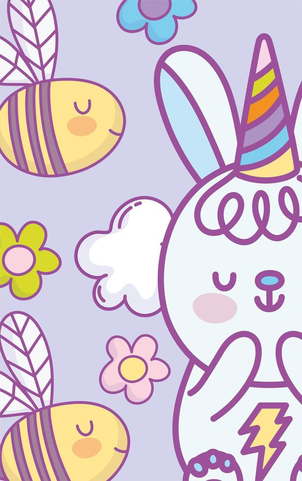Little kawaii bunny with party hat and bees vector